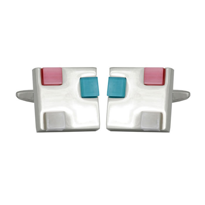 Pink Blue And Grey Enamel Cufflinks