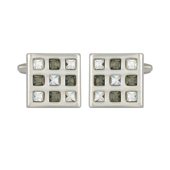 Green And Clear Crystal Square Cufflinks