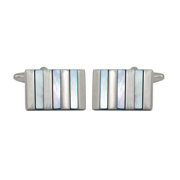 Light Blue Enamel Stripe Cufflinks