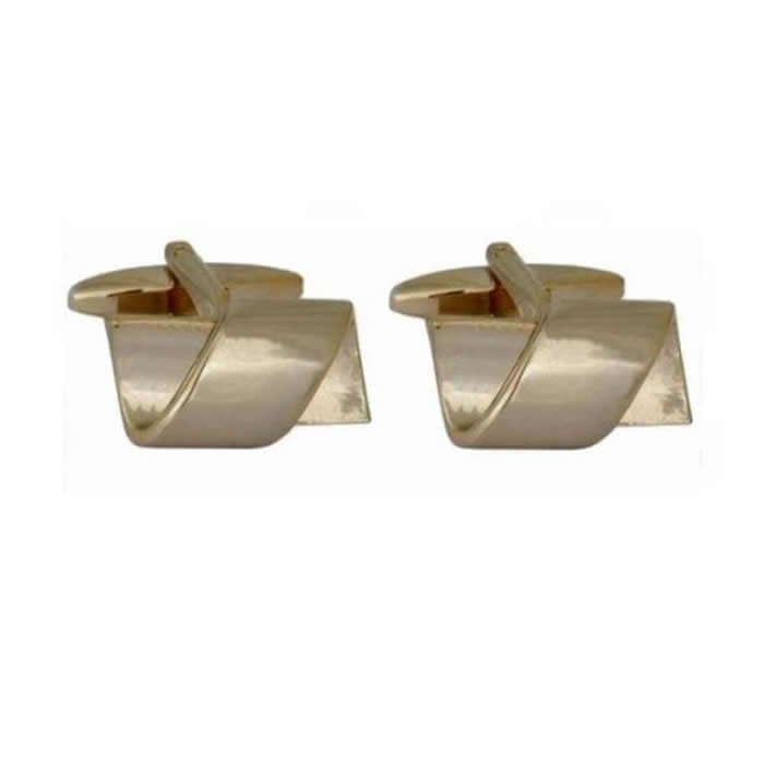 Rectangle Twist Gold Plate Cufflinks