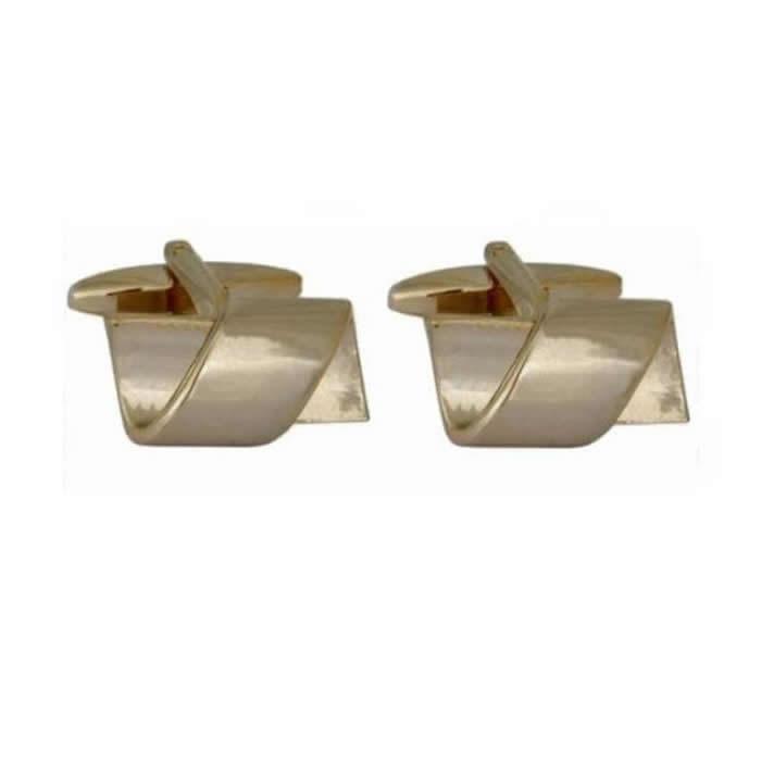 Rectangle Twist Gold Plate Cufflinks