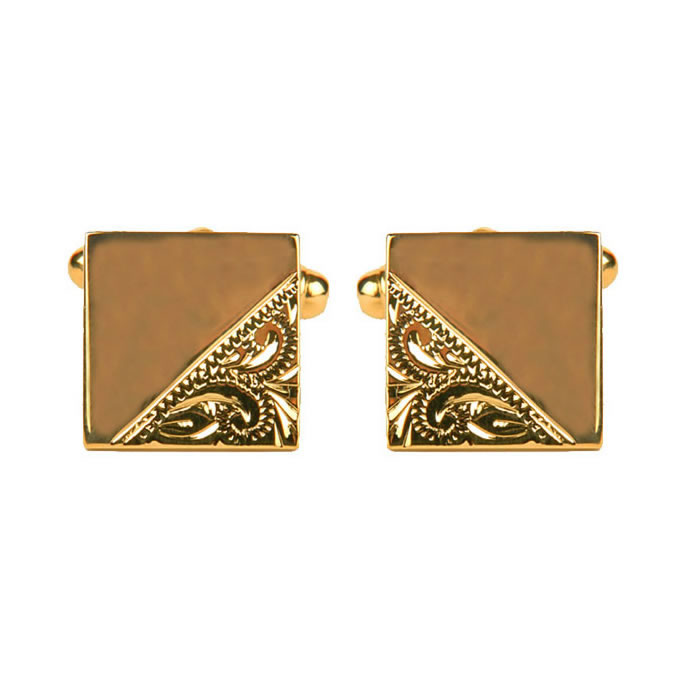 Venetian Engraved And Smooth Square Cufflinks