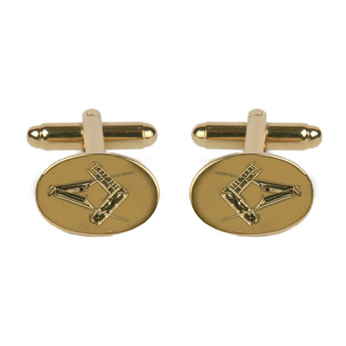 Gold Plated Oval Masonic Cufflinks