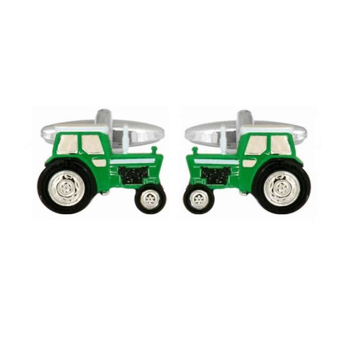 Green Tractor Shaped Cufflinks
