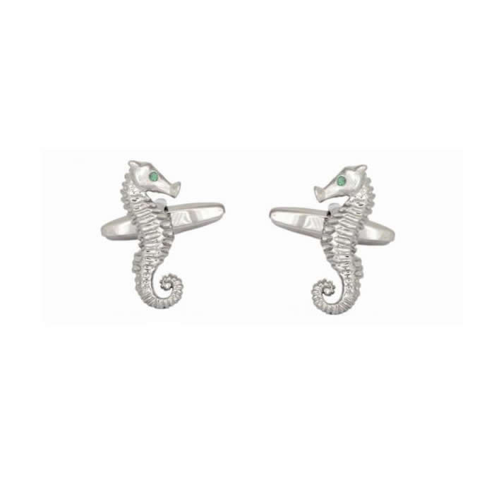 Sea Horse Emerald Crystal Eyes Cufflinks