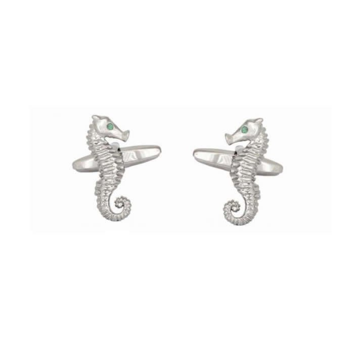 Sea Horse Emerald Crystal Eyes Cufflinks