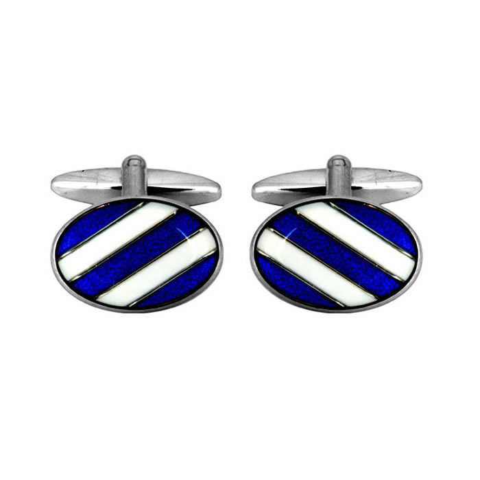 Blue And White Striped Cufflinks