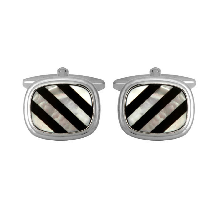 Rounded Square Stone Striped Cufflinks