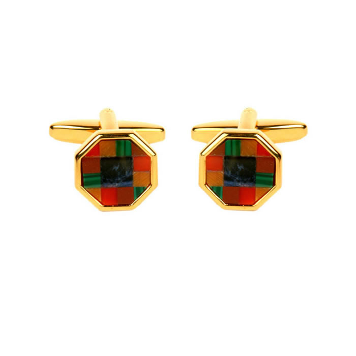 Octagonal Assorted Stone Cufflinks