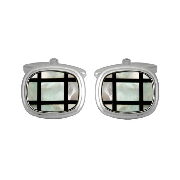 Rounded Square Stoned Cufflinks