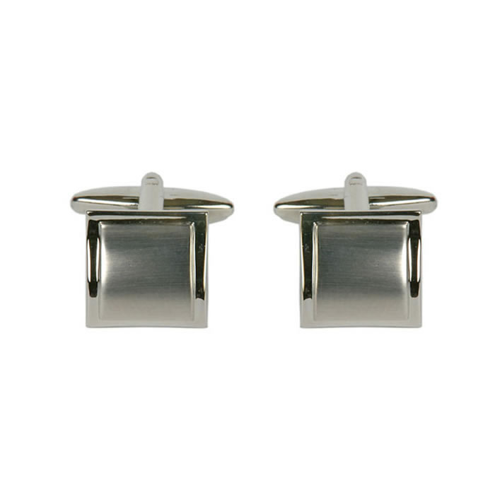 Square Bordered Brushed Effect Cufflinks