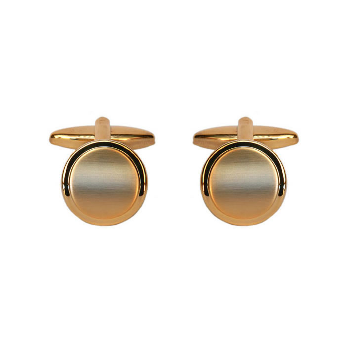 Round Brushed Effect Gold Look Cufflinks