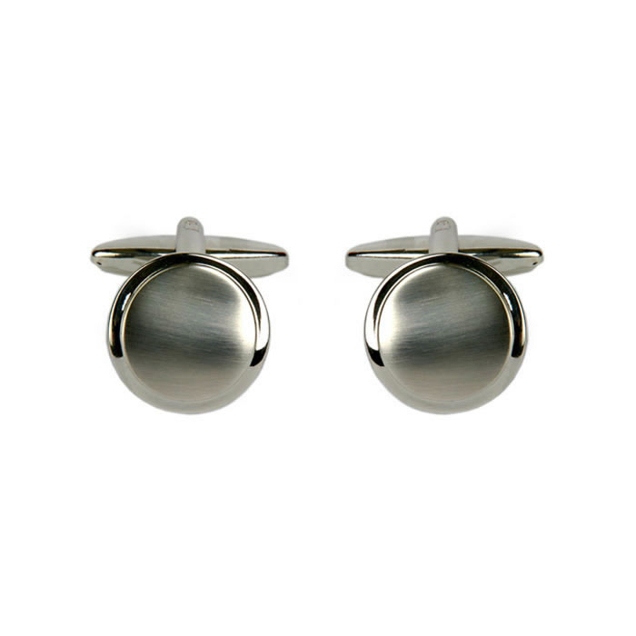 Round Brushed Effect Style Cufflinks