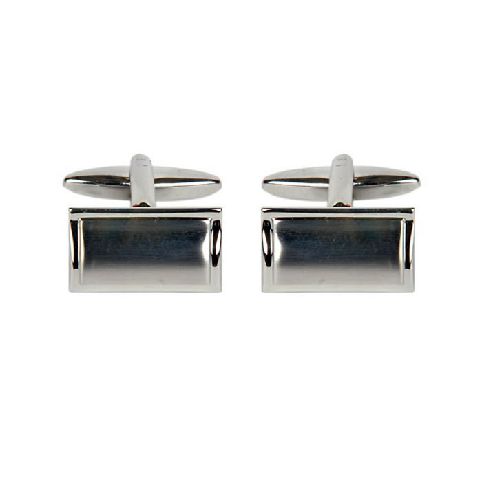 Rectangular Shaped Brushed Effect Cufflinks