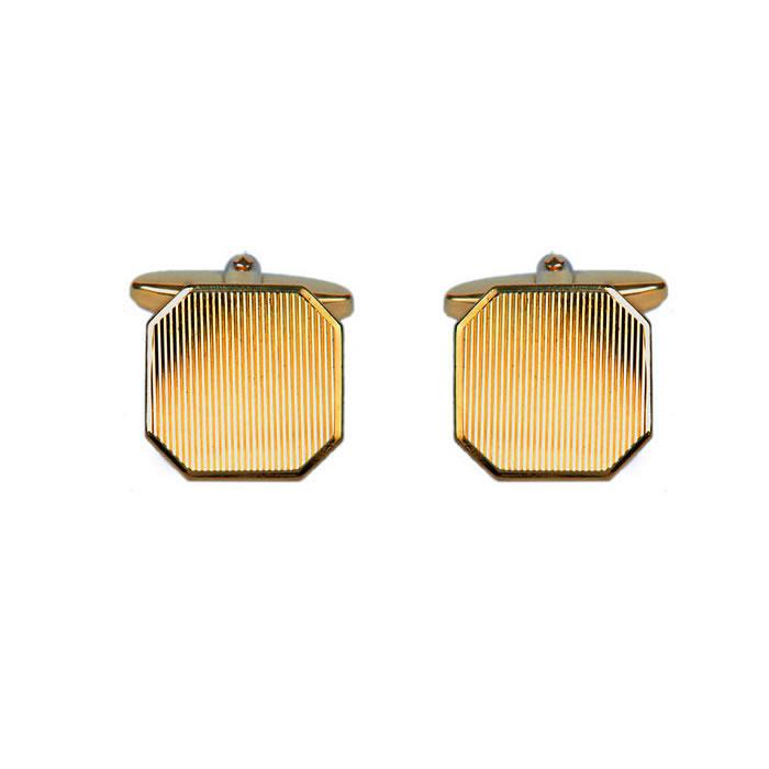 Octagonal Diamond Cut Line Cufflinks