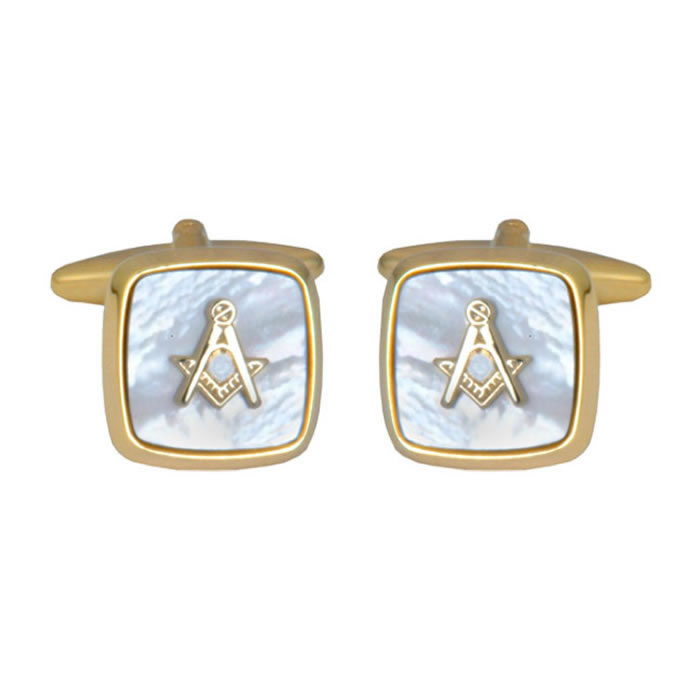 Mother Of Pearl Masonic Gold Border Cufflinks
