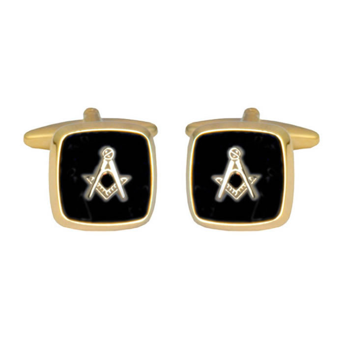 Square Onyx Masonic Black Cufflinks