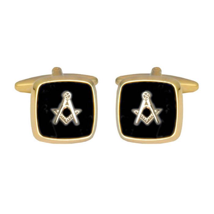 Square Onyx Masonic Black Cufflinks