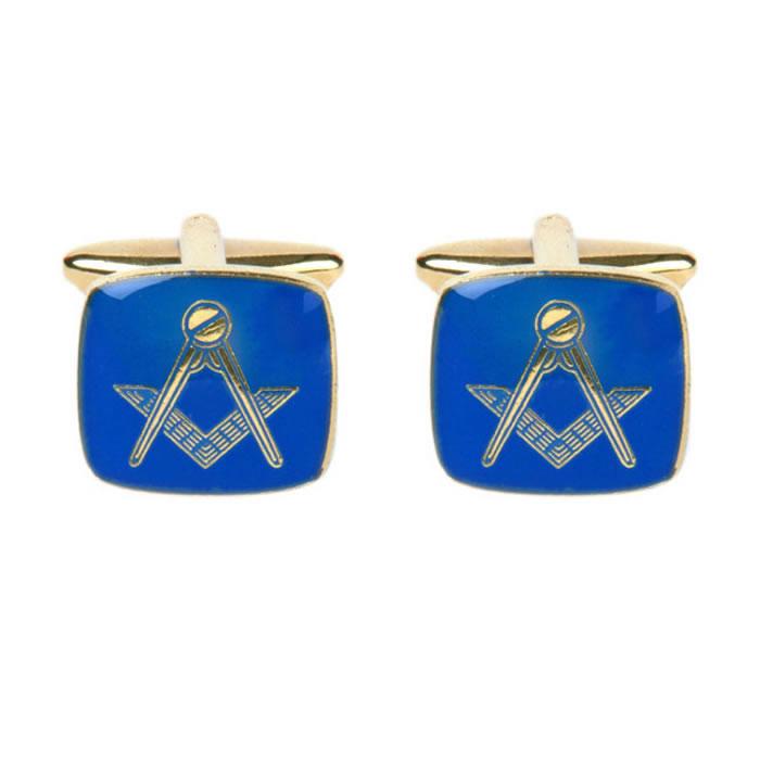 Square Blue Masonic Cufflinks
