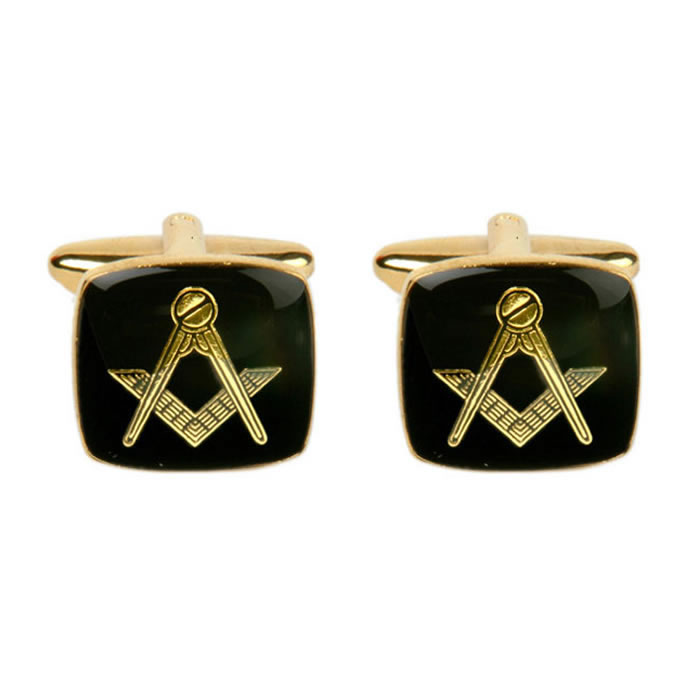 Square Black Masonic Cufflinks