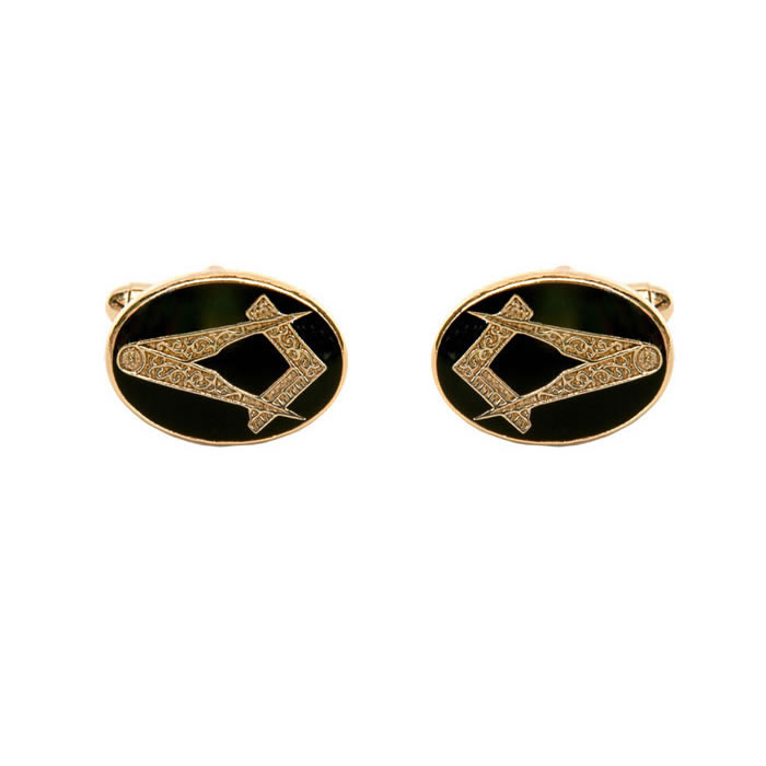 Oval Black Masonic Cufflinks