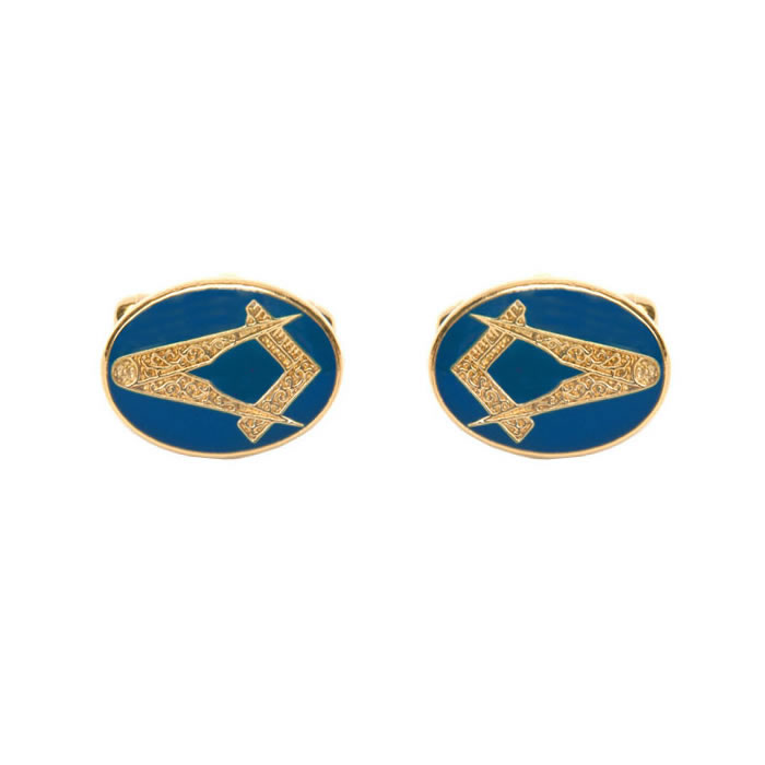 Oval Blue Masonic Cufflinks