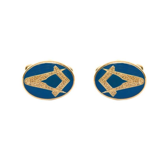 Oval Blue Masonic Cufflinks