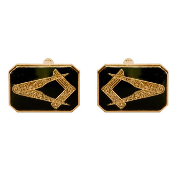 Octagonal Black Masonic Cufflinks