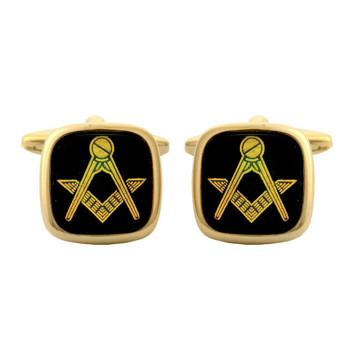 Square Onyx Masonic Style Cufflinks