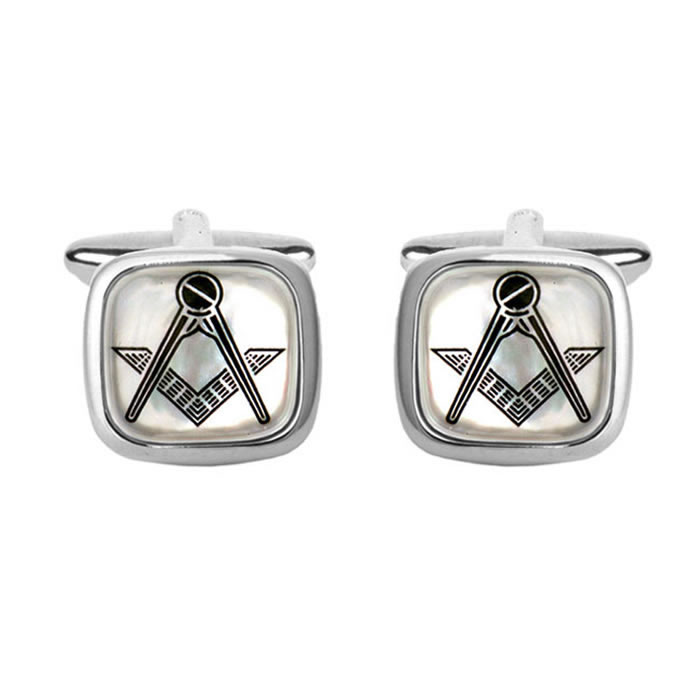 Mother Of Pearl Masonic Simple Cufflinks