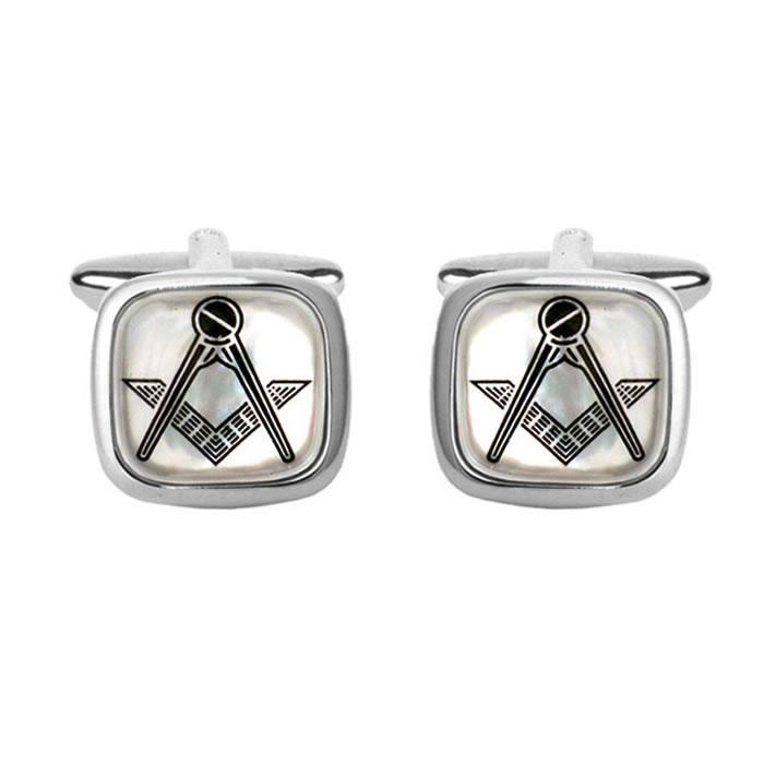 Mother Of Pearl Masonic Simple Cufflinks