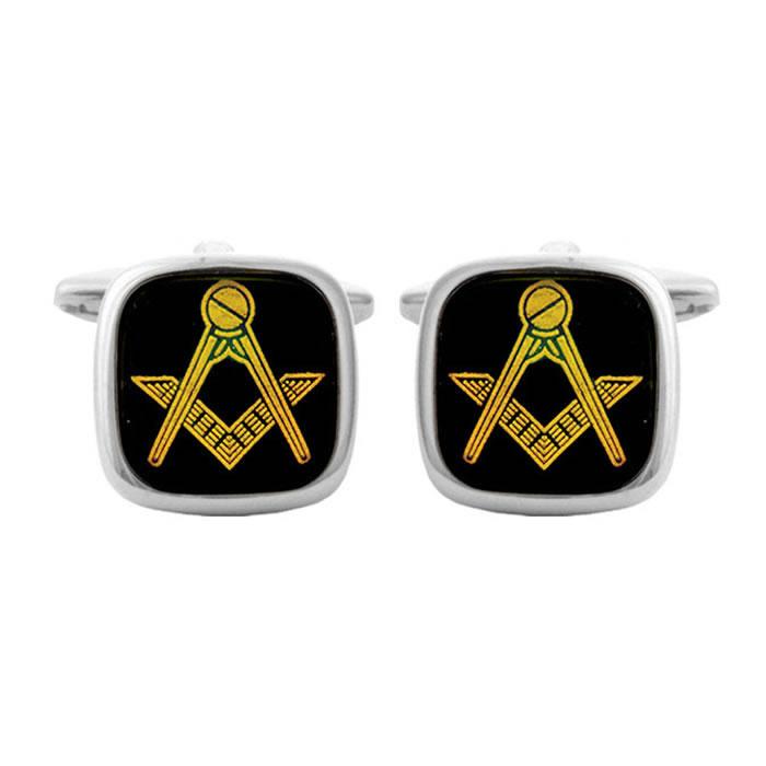 Square Onyx Masonic Bordered Cufflinks