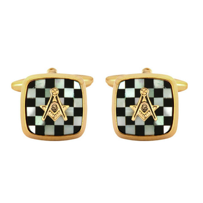 Onyx Masonic Chequered Cufflinks