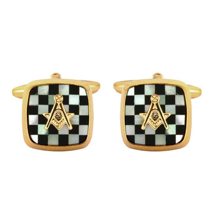 Onyx Masonic Chequered Cufflinks