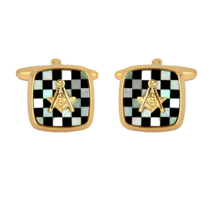 Onyx Masonic Style Cufflinks