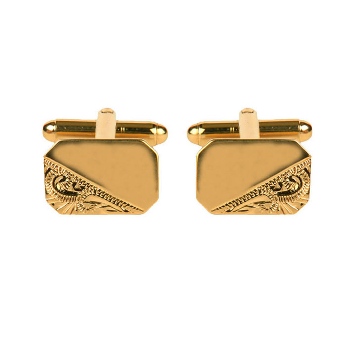 Venetian Engraved And Smooth Octagonal Gold Look Cufflinks
