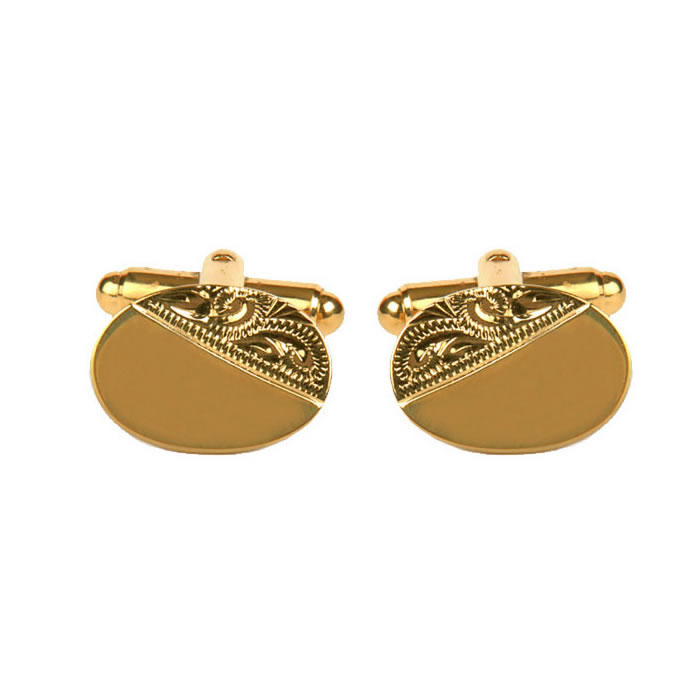 Venetian Engraved And Smooth Oval Cufflinks