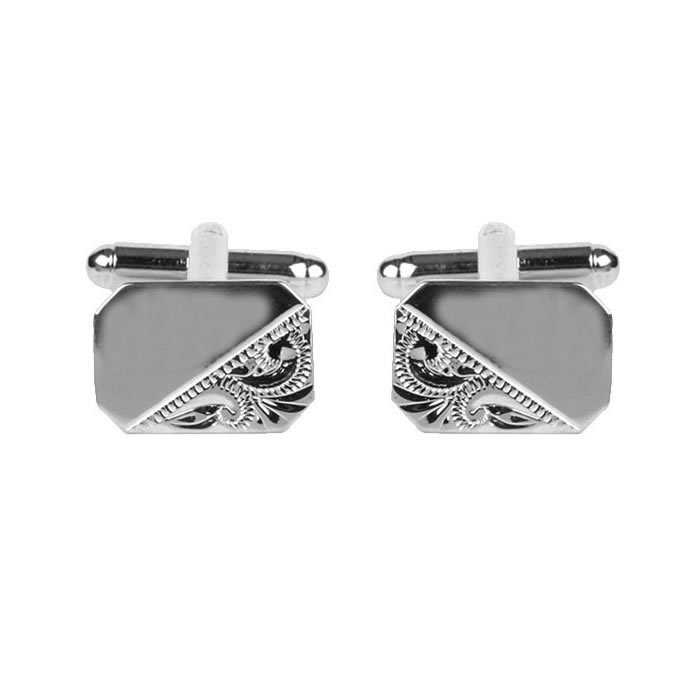 Venetian Style Engraved And Smooth Cufflinks
