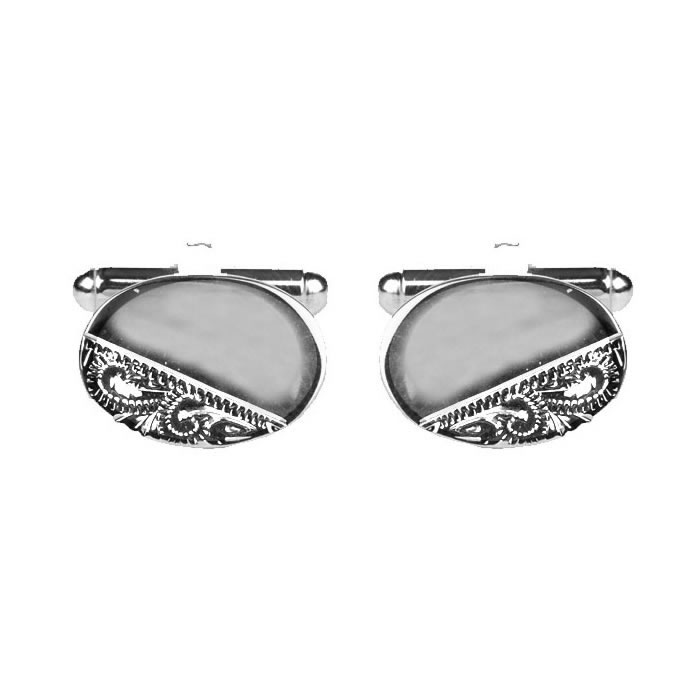 Venetian Engraved And Smooth Oval Silver Look Cufflinks
