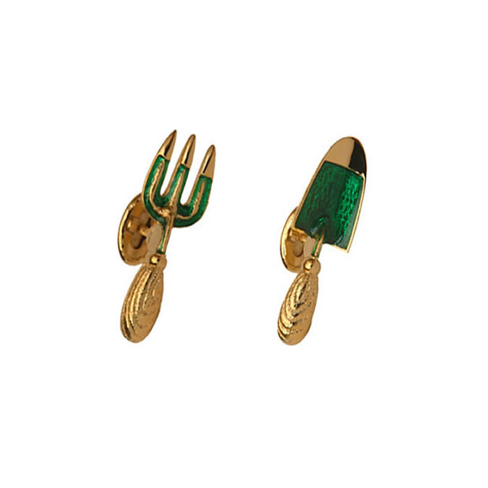 Fork And Trowel Gold Look Cufflinks