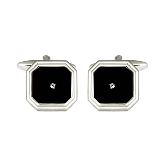 Black Small Clear Crystal Octagon Cufflinks