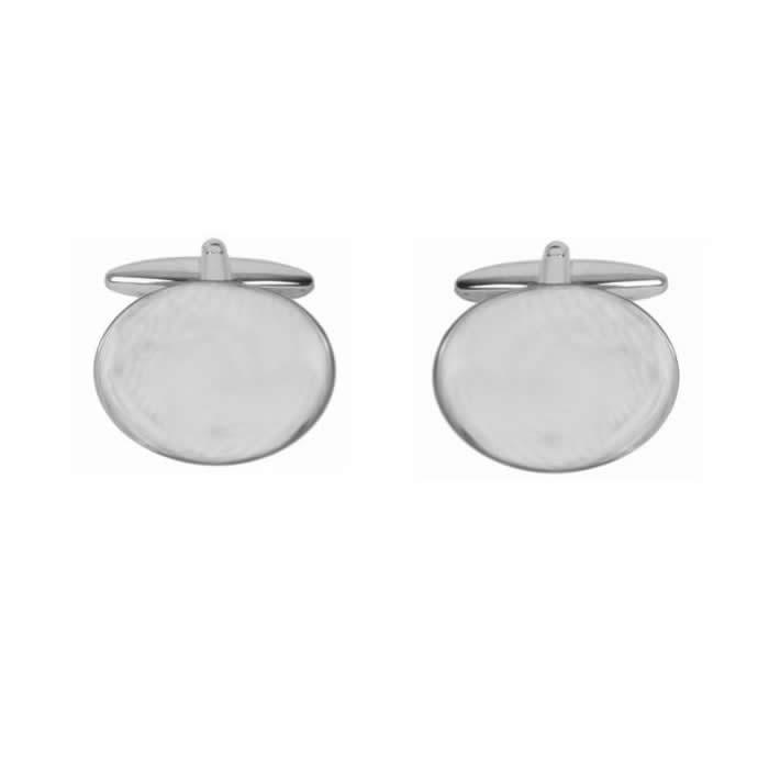 Oval Large Flat Plain Cufflinks