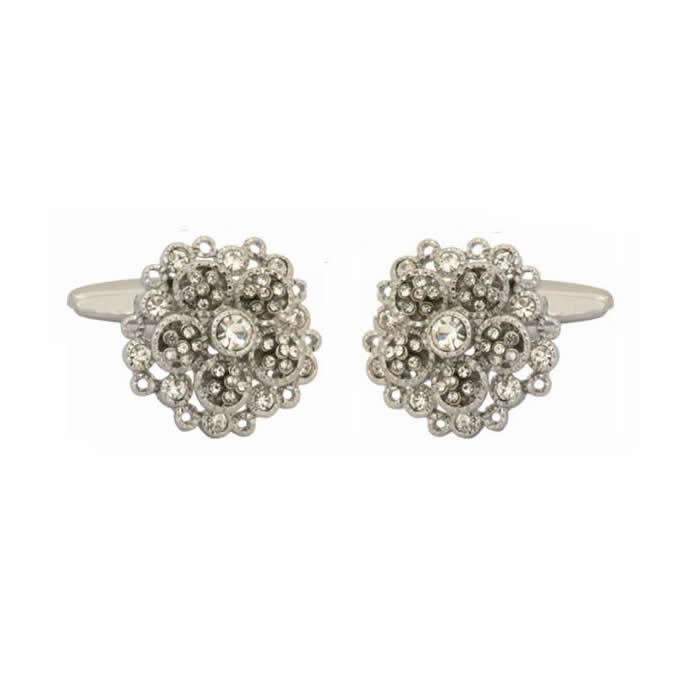 Crystals 2 Layer Flower Cufflinks