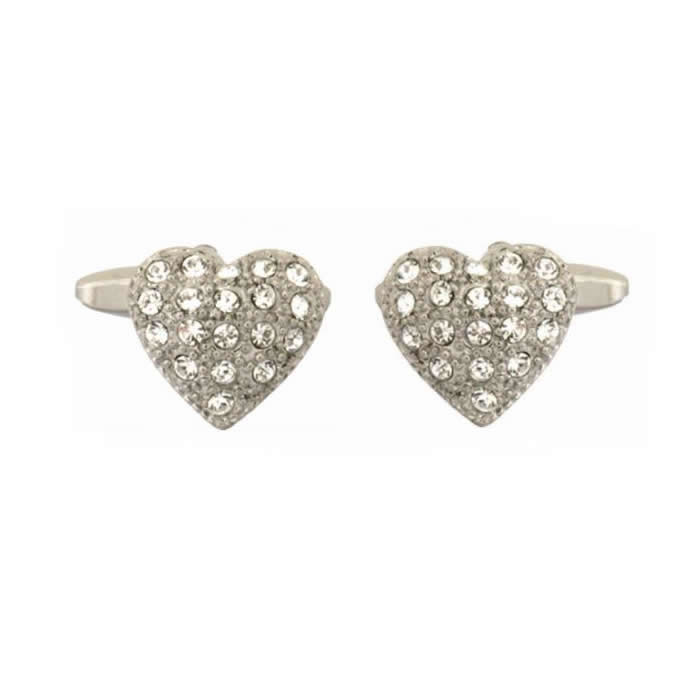 Crystals Heart Shape Cufflinks