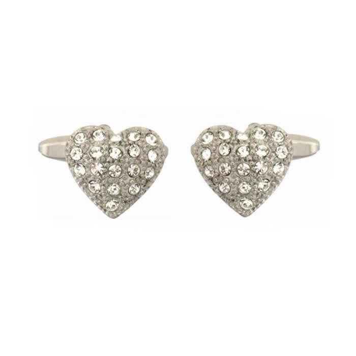 Crystals Heart Shape Cufflinks