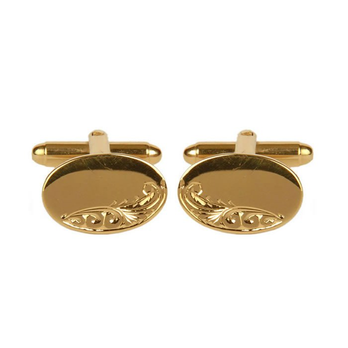 Venetian Engraved And Smooth Oval Gold Look Cufflinks