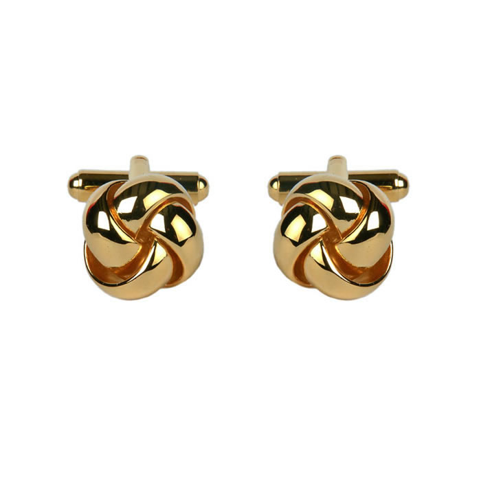 Smooth Strand Love Knot Gold Look Cufflinks