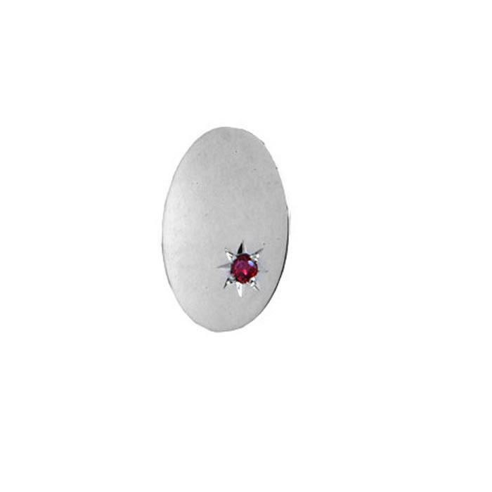 Silver Oval Small Ruby Tie Tac