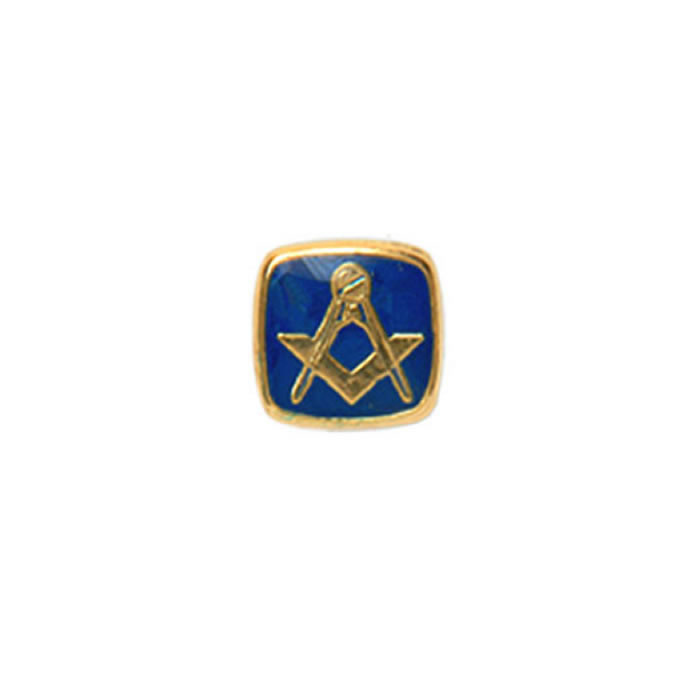 Square Blue Masonic Tie Tac