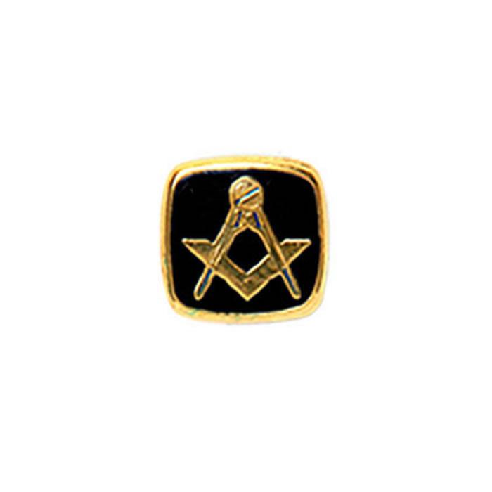 Square Onyx Masonic Tie Tac